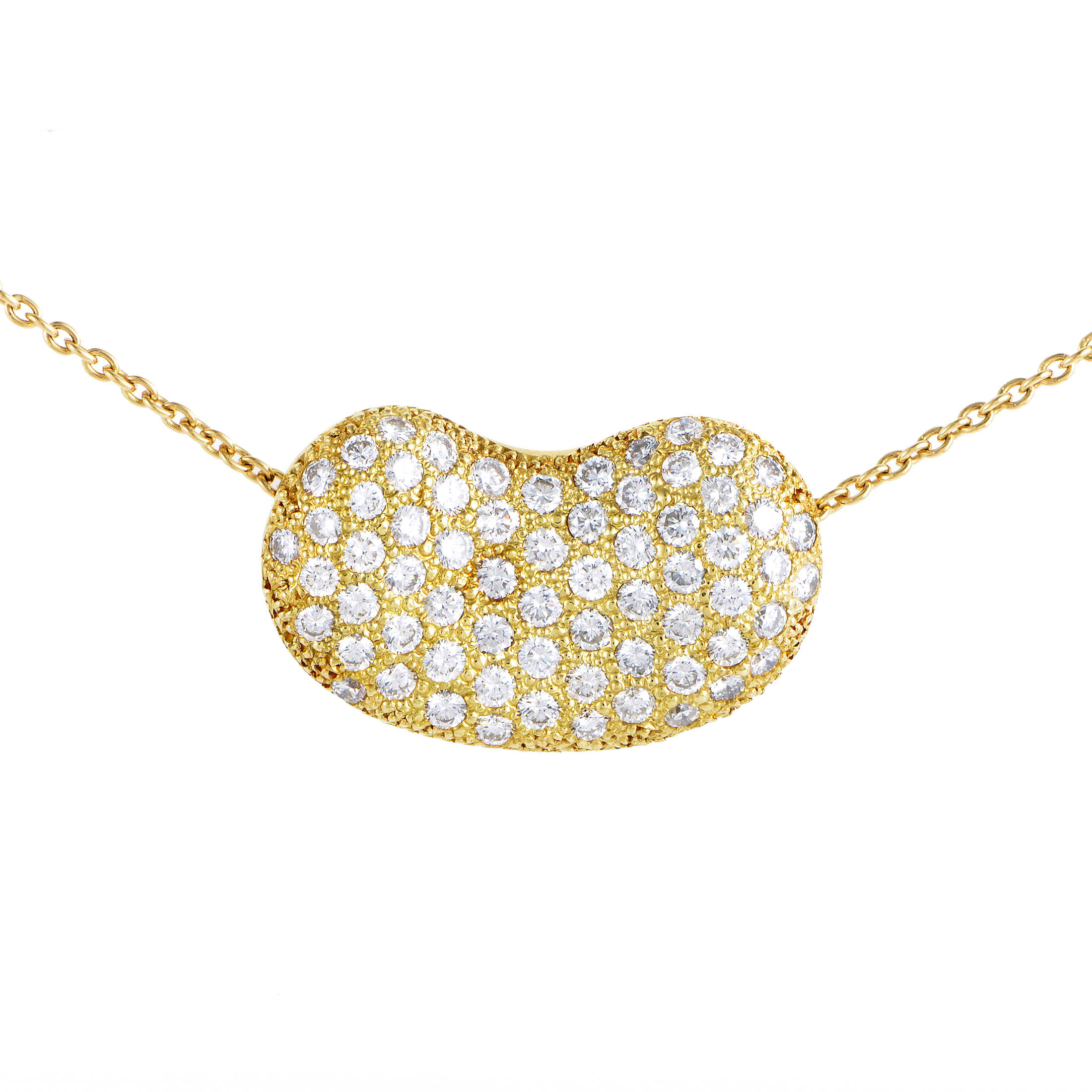Tiffany & Co. Elsa Peretti 18K Yellow Gold Diamond Pave Bean Pendant Necklace