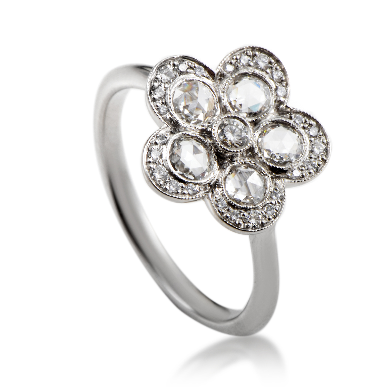 Tiffany & Co. Platinum & Diamond Flower Ring