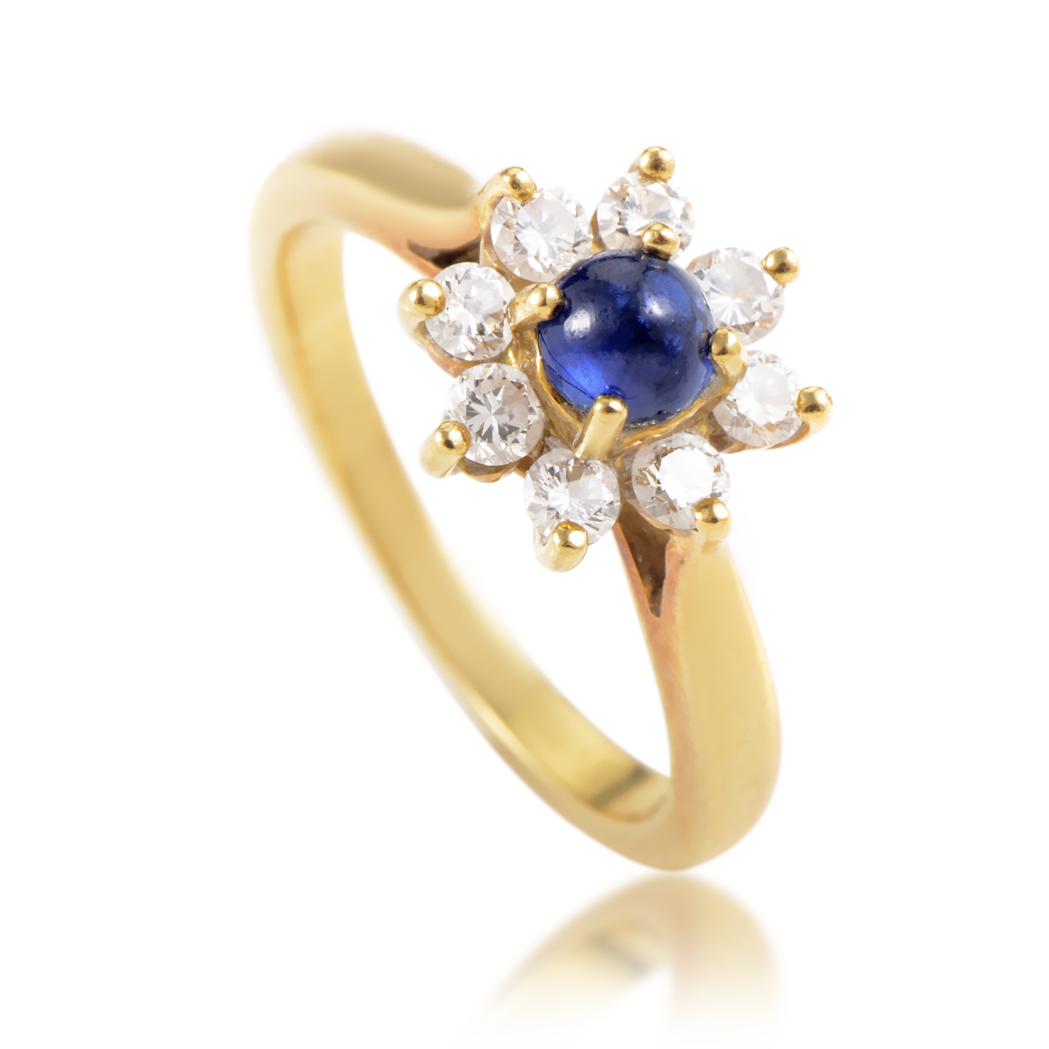 Tiffany & Co. 18K Yellow Gold Diamond and Sapphire Flower Ring
