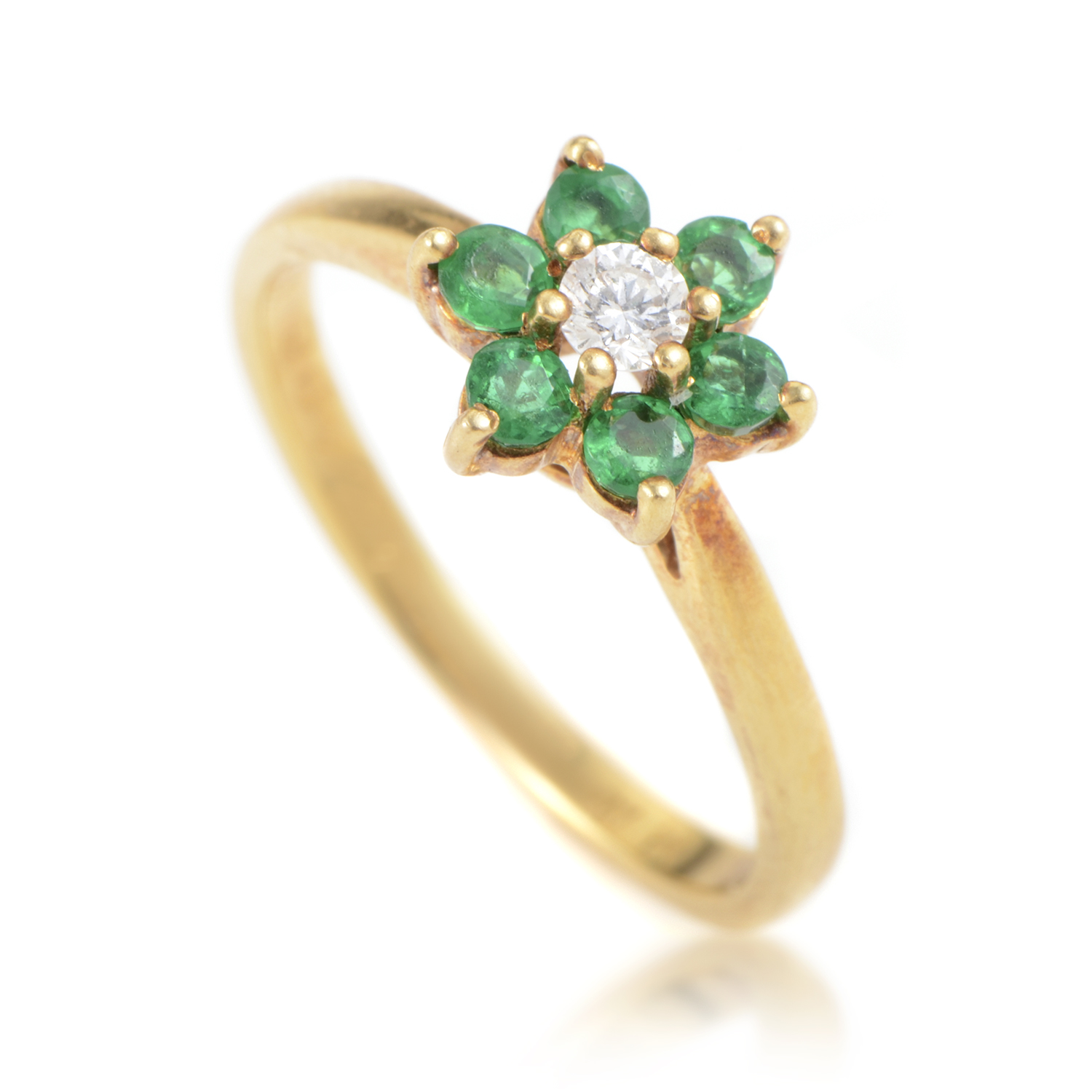 Tiffany & Co. Womens 18K Yellow Gold Diamond and Emerald Flower Ring