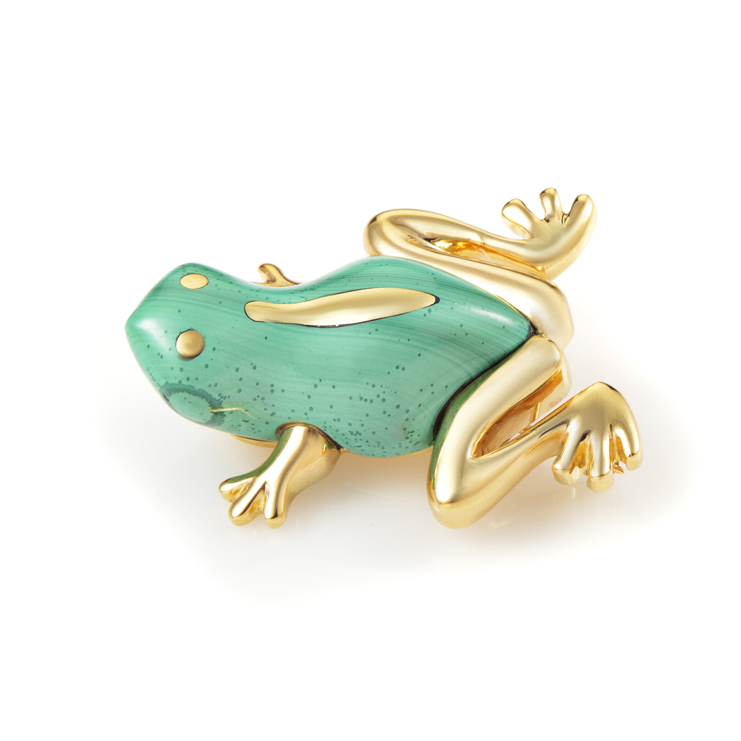 Tiffany & Co. Women's 18K Yellow Gold Malachite Frog Brooch AK1B3321