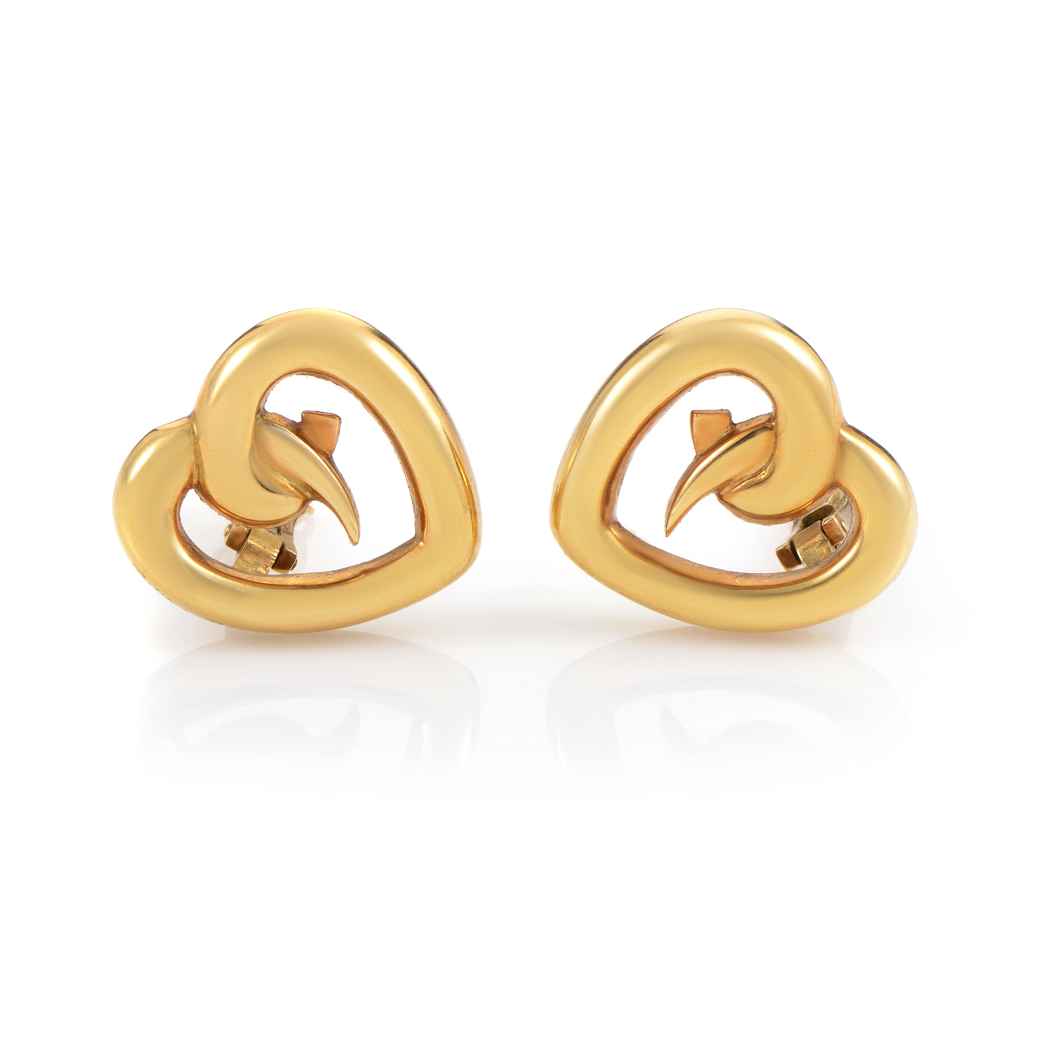 Tiffany & Co. Paloma Picasso Loving Heart 18K Yellow Gold Clip-on Earrings