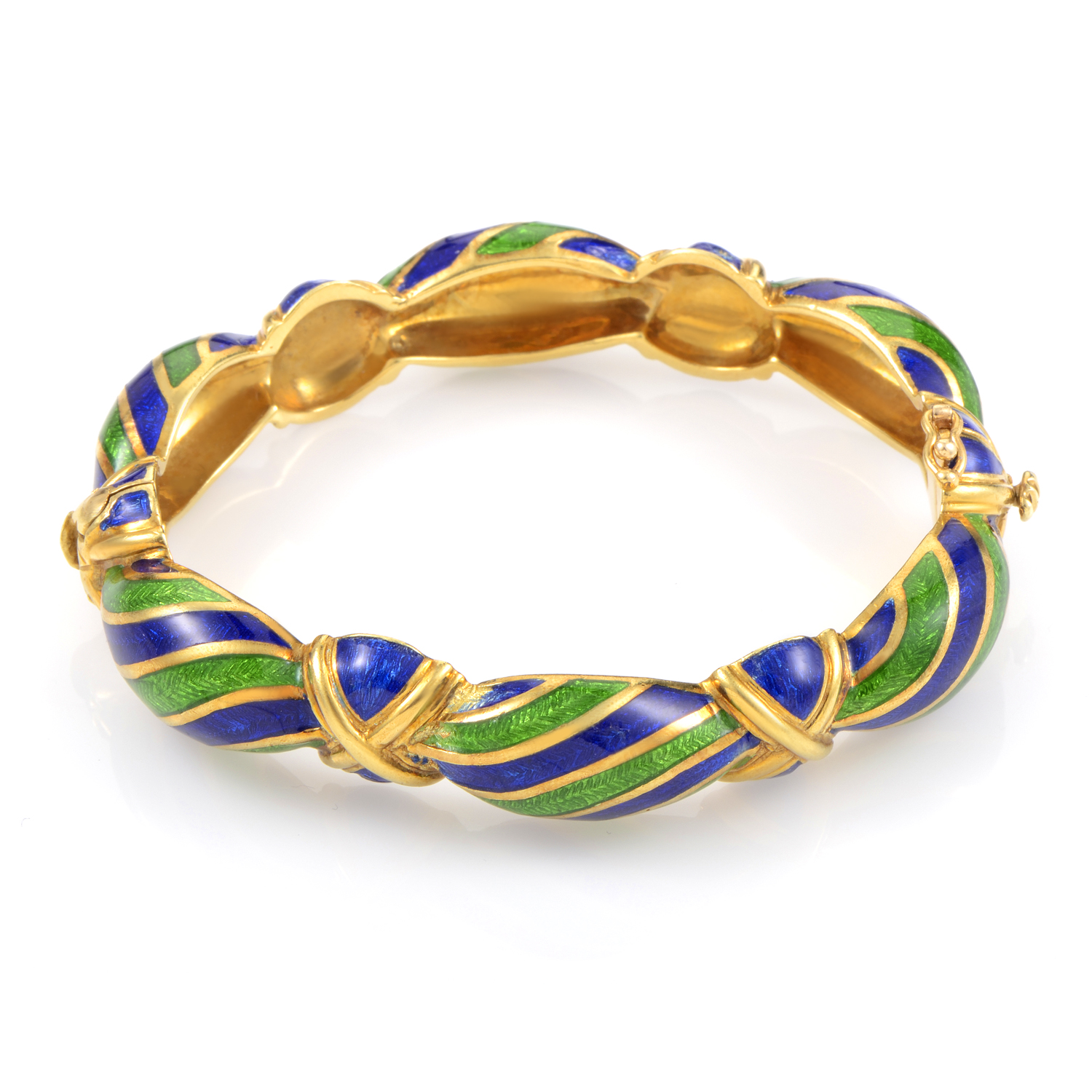 Tiffany & Co. 18K Yellow Gold Blue & Green Enamel Bracelet
