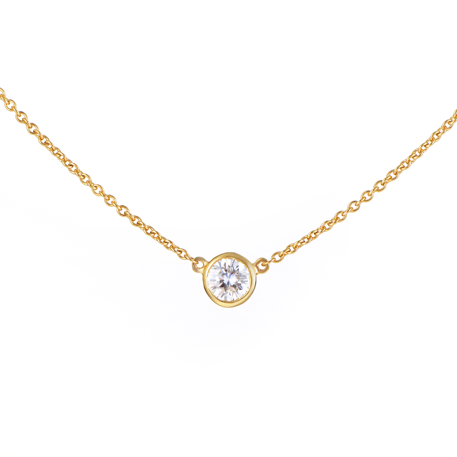 Tiffany & Co. Elsa Peretti Diamonds by the Yard 18K Gold .30ct Solitaire Necklace