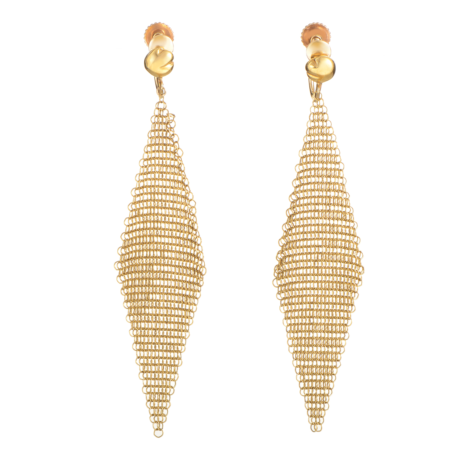 Tiffany & Co. Elsa Peretti Women's 18K Yellow Gold Mesh Earrings AK1B3416