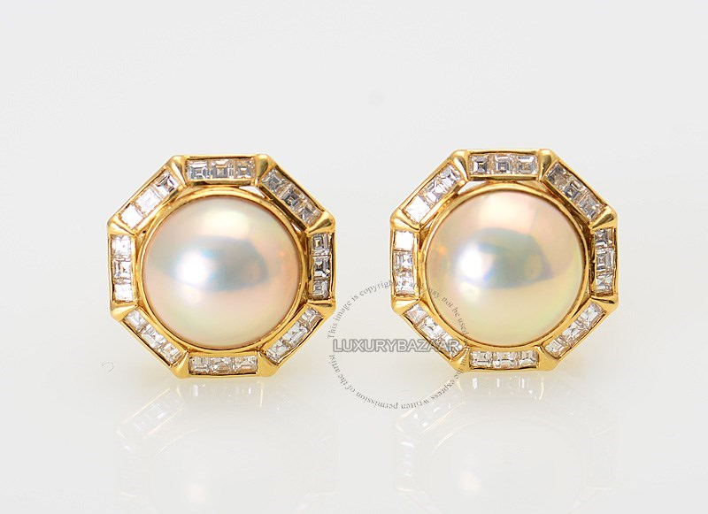 18K Yellow Gold Diamond Pearl Round Earrings