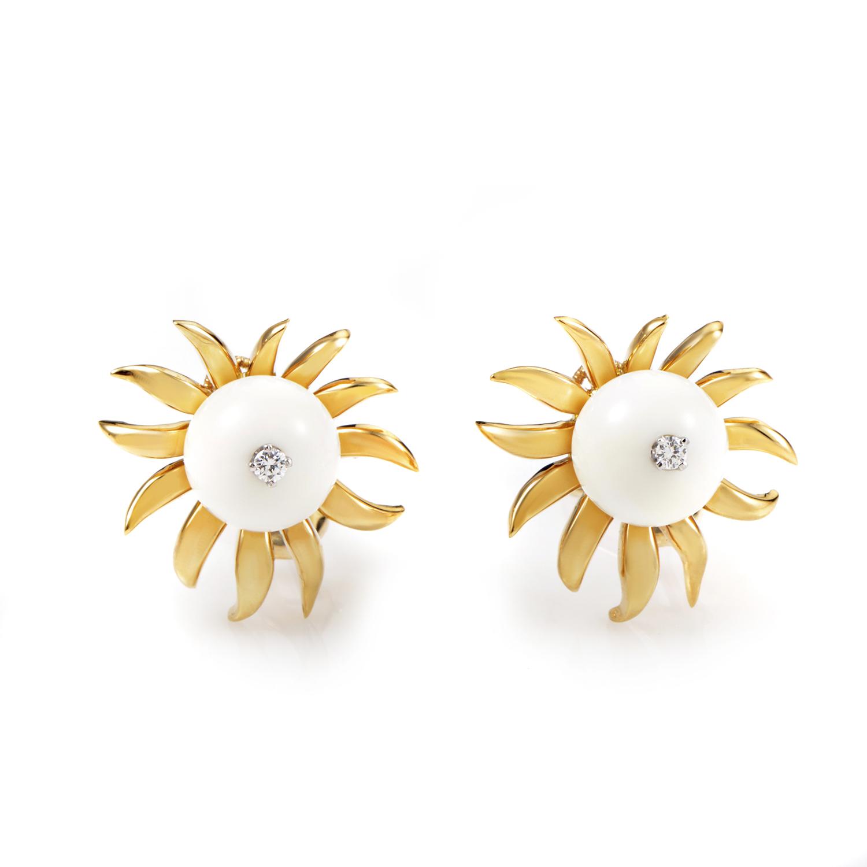 Tiffany & Co. Schlumberger 18K Yellow Gold Diamond & White Onyx Earrings