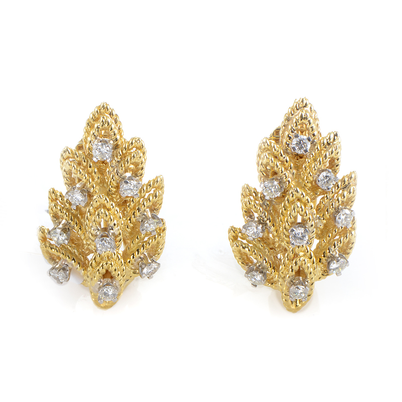 Tiffany & Co. 18K Yellow Gold & Diamond Leaf Earrings