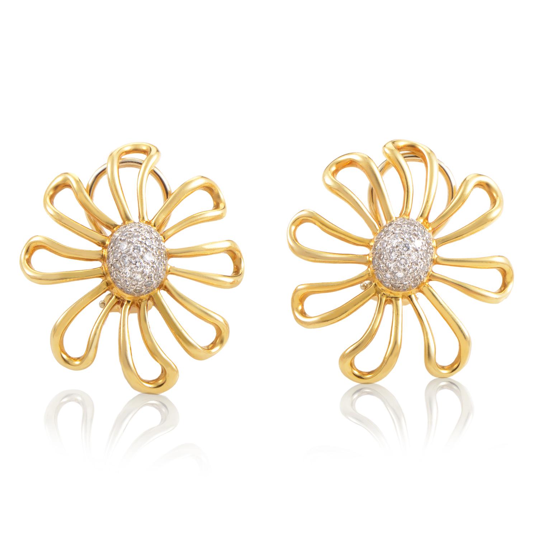 Tiffany & Co. Paloma Picasso 18K Yellow Gold & Platinum Diamond Earrings