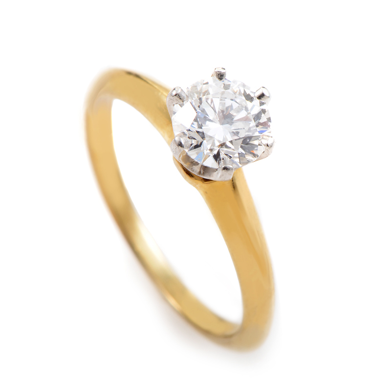 Yellow Gold Diamond Platinum: Tiffany & Co. 18K Yellow Gold & Platinum Diamond Solitaire