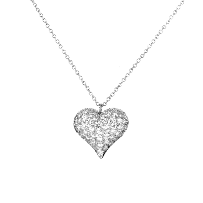 Tiffany & Co. Estate Platinum Diamond Heart Pendant Necklace TIF41116-9038