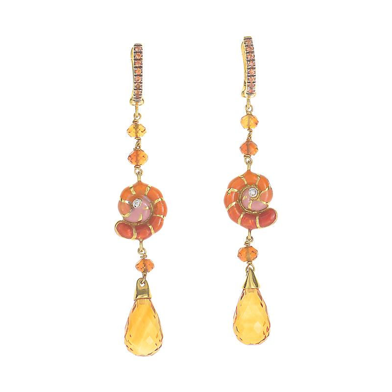 18K Yellow Gold Multi-Gem Seashell Drop Earrings