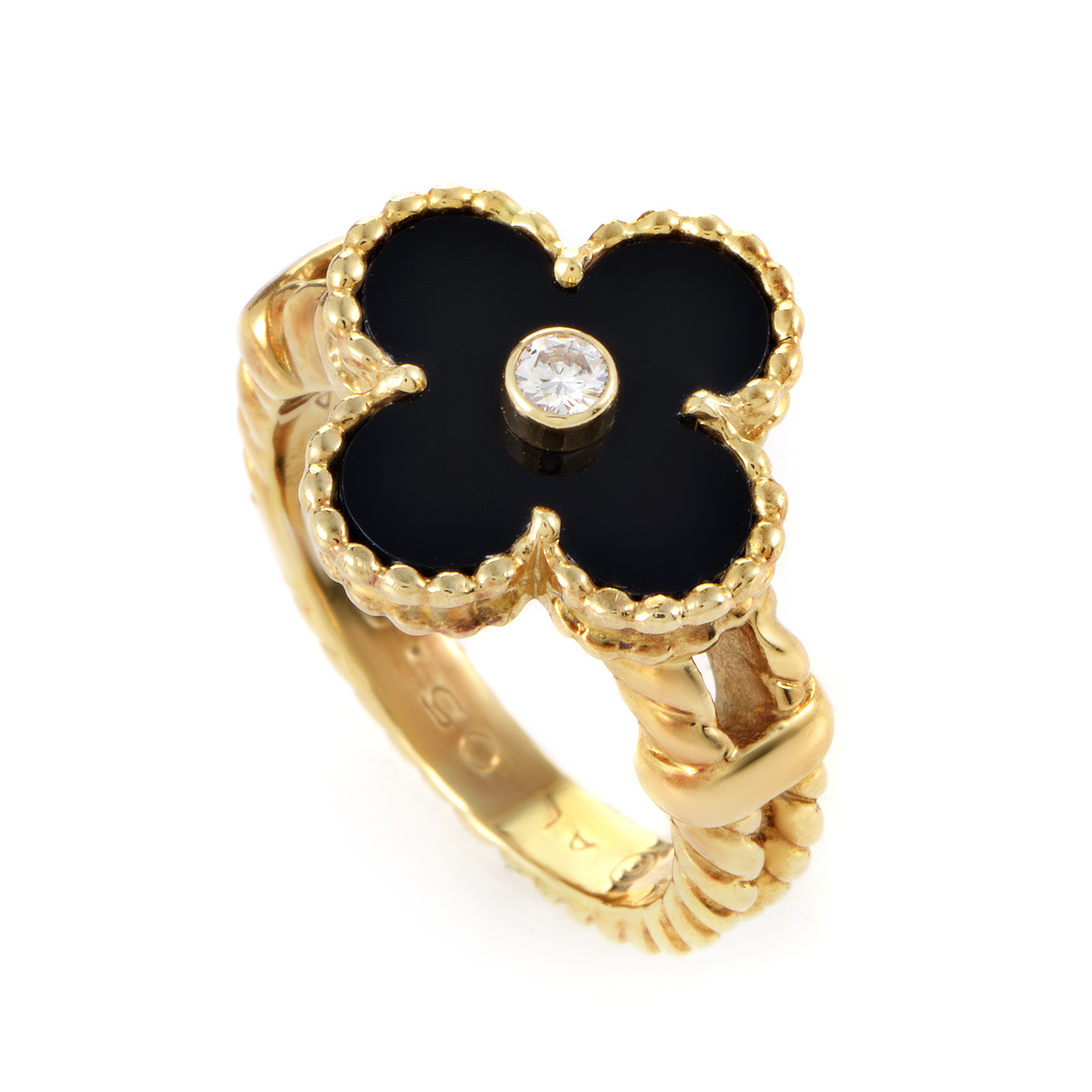 Van Cleef & Arpels Alhambra 18K Yellow Gold Diamond and Onyx Ring