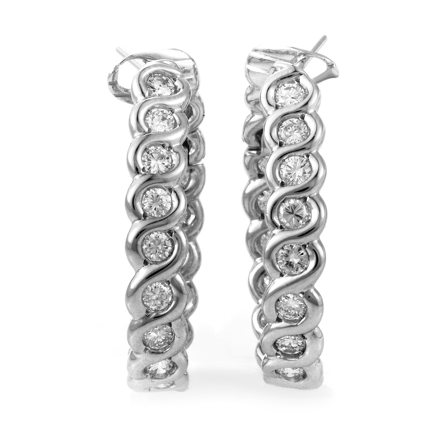 Van Cleef & Arpels 18K White Gold Diamond Hoop Earrings