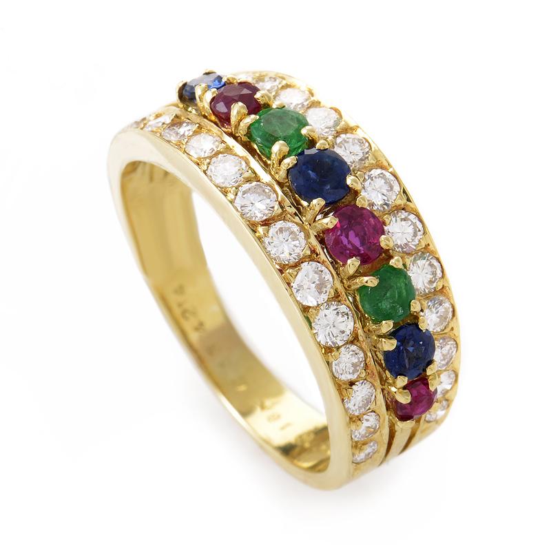 Van Cleef & Arpels 18K Yellow Gold Precious Gemstone Band Ring VAN01-020915