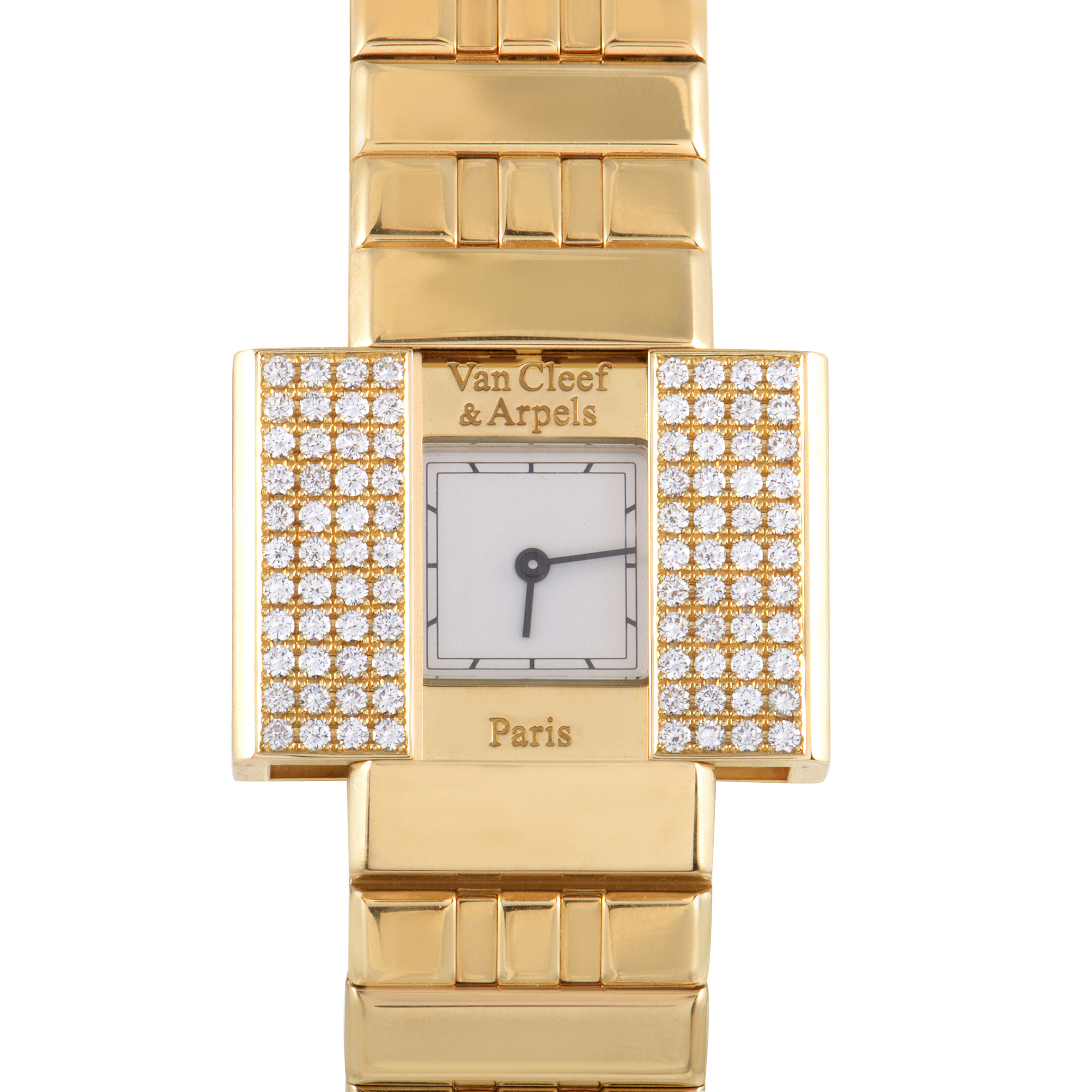 Van Cleef & Arpels Domino 39 Womens 18K Yellow Gold Diamond Watch 130976
