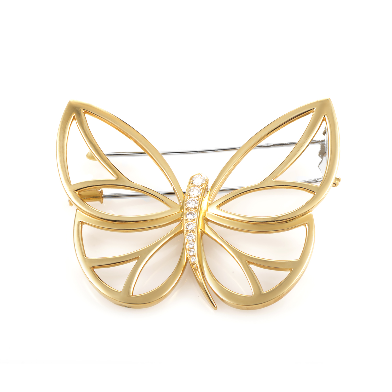 Van Cleef & Arpels Papillon Women's 18K Yellow Gold Diamond Pin
