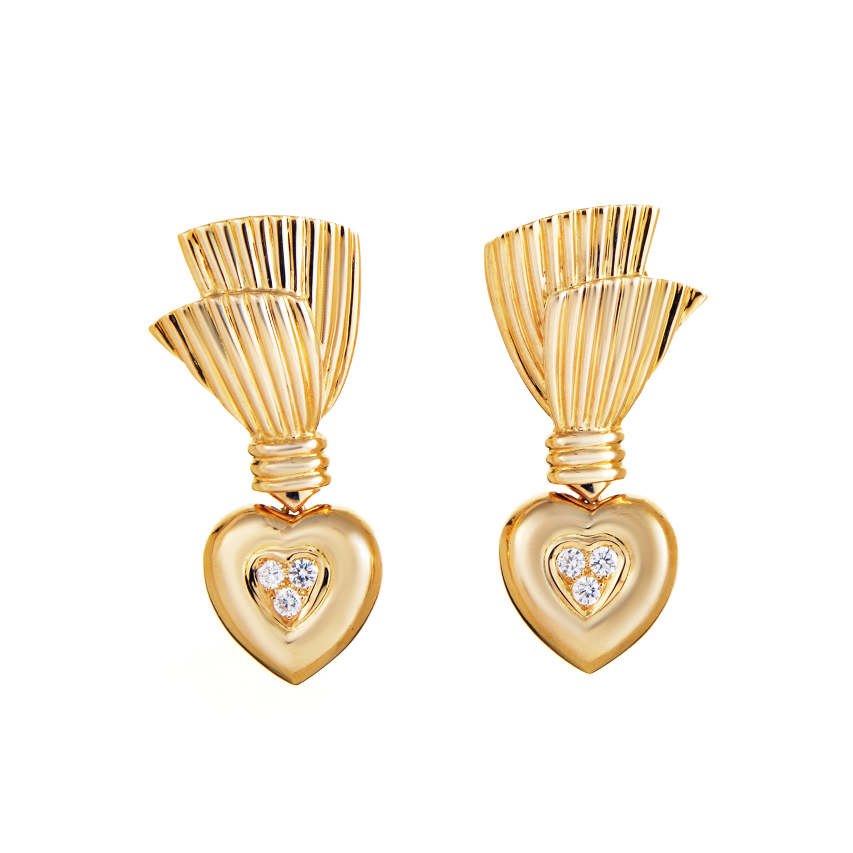 Van Cleef & Arpels 18K Yellow Gold Diamond Heart Earrings