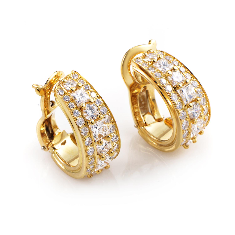 Van Cleef & Arpels Women's 18K Yellow Gold Diamond Huggie Earrings