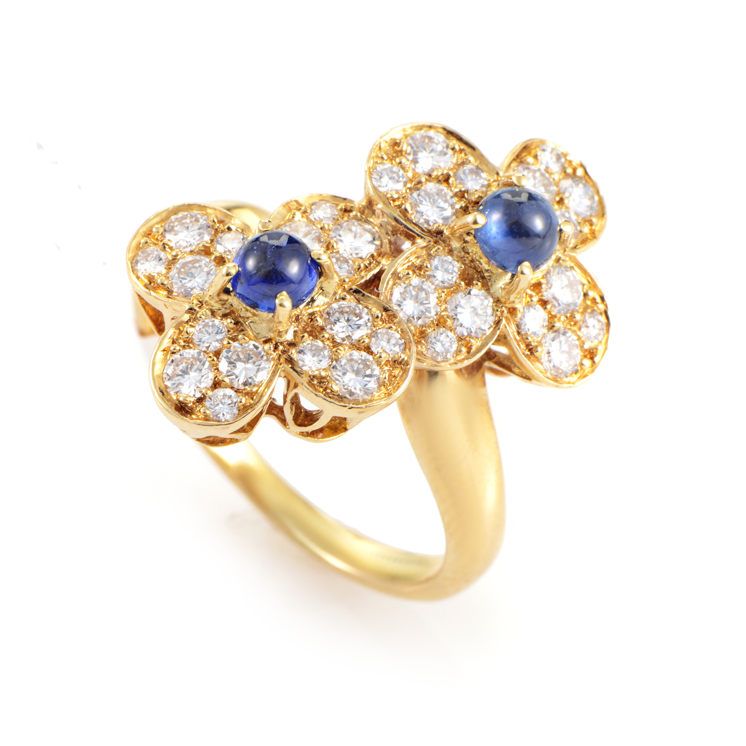 Van Cleef & Arpels Trefle Women's 18K Yellow Gold Diamond & Sapphire Ring