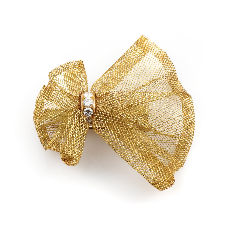 Van Cleef & Arpels Women's 18K Yellow Gold Diamond Bow Pin
