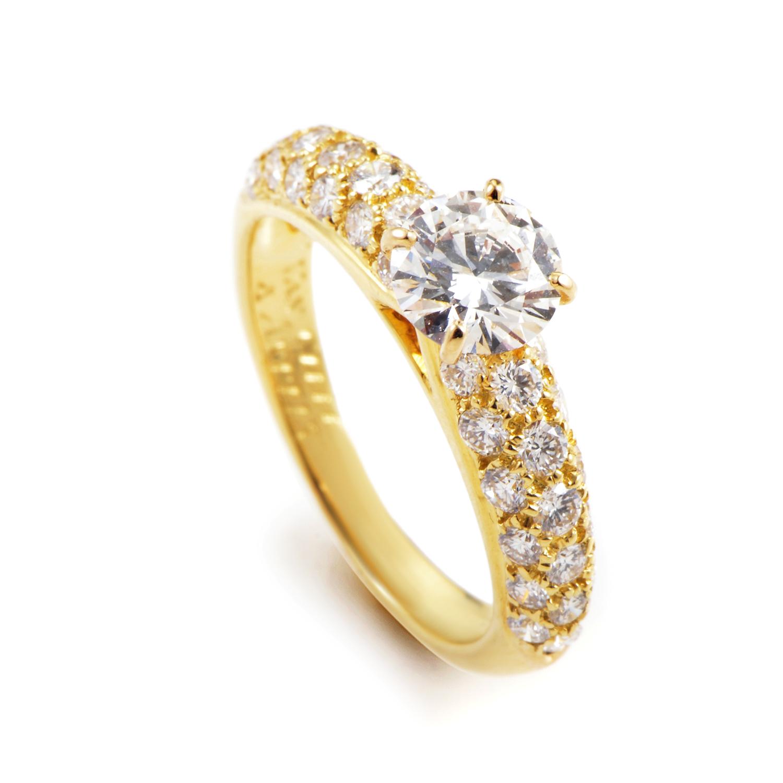 Van Cleef & Arpels 18K Yellow Gold Diamond Engagement Ring AK1B2378