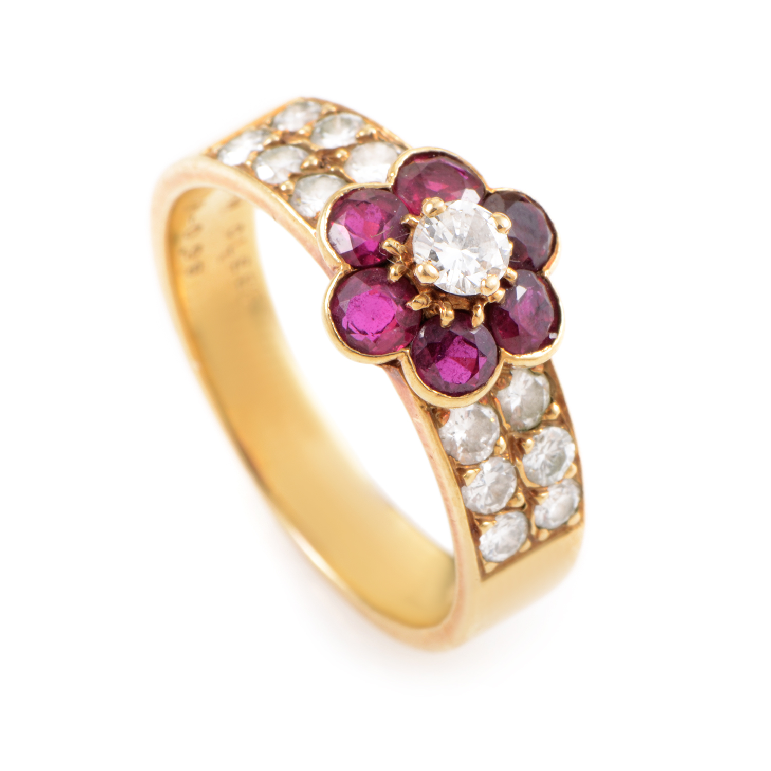Van Cleef & Arpels Fleurette 18K Yellow Gold Diamond & Ruby Flower Ring