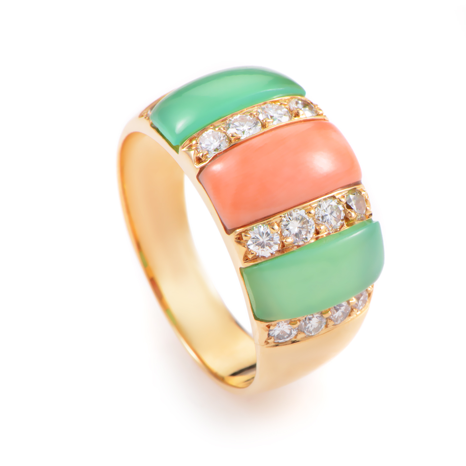 Van Cleef & Arpels Womens 18K Yellow Gold Diamond Coral and Chrysoprase Ring