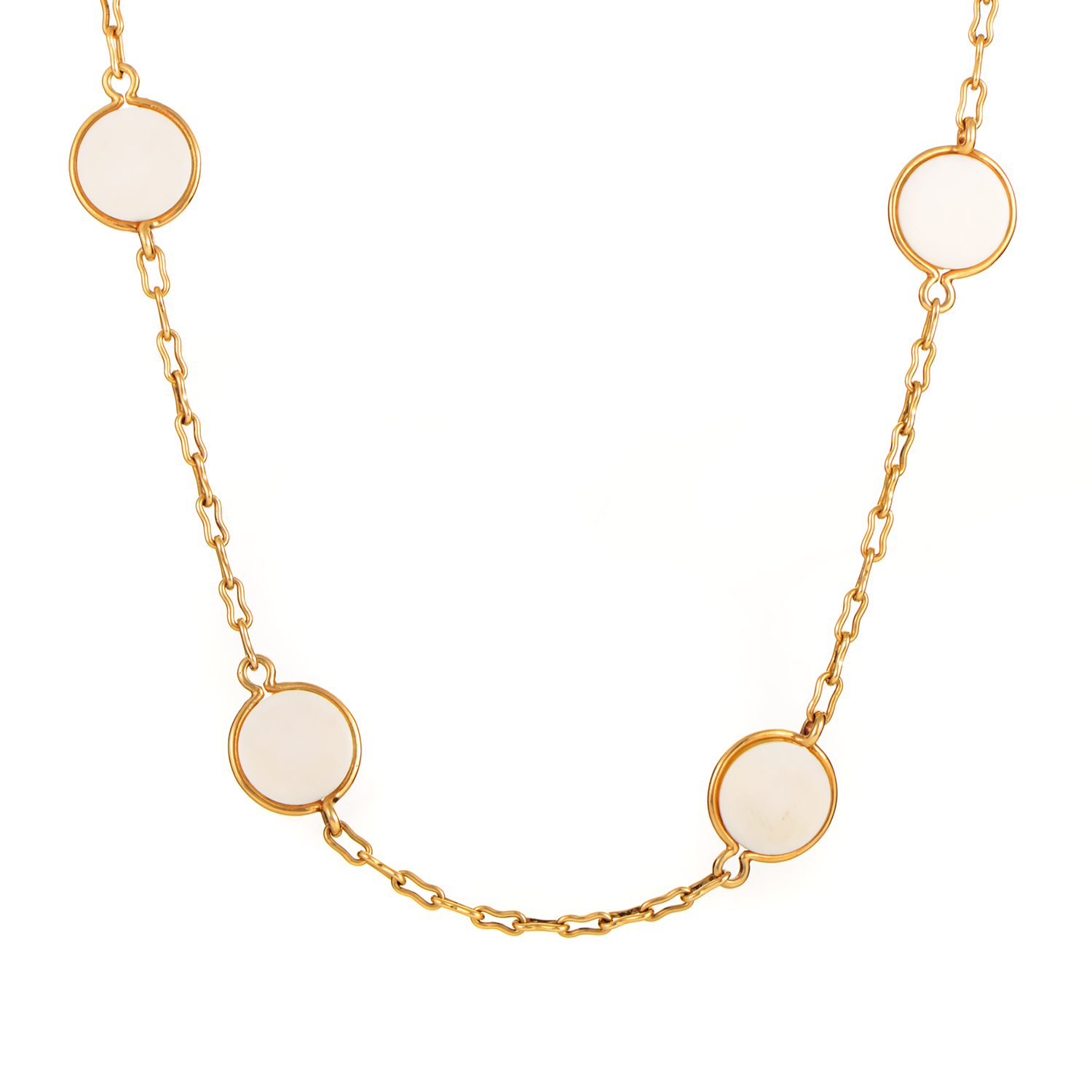 Van Cleef & Arpels Vintage 18K Yellow Gold & Ivory Necklace