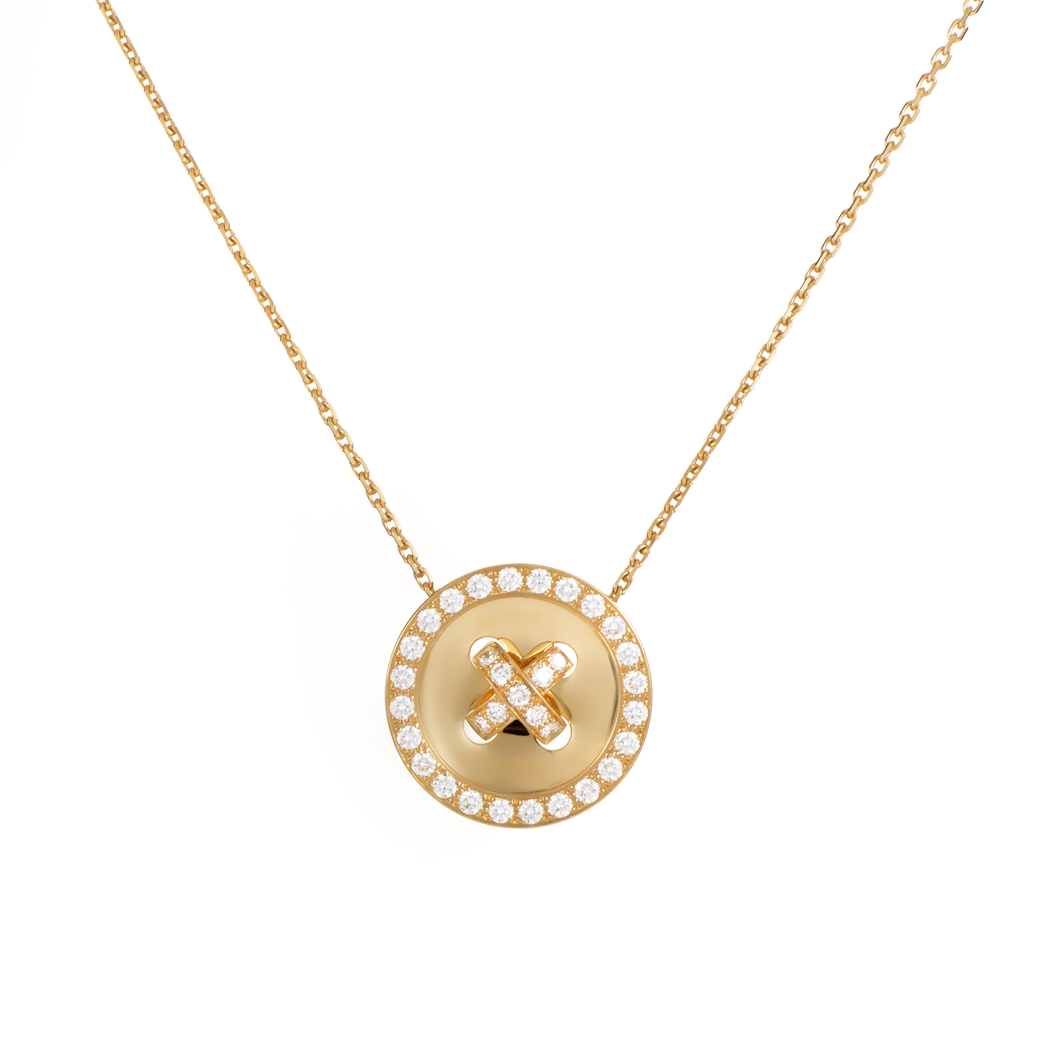 Van Cleef & Arpels 18K Yellow Gold Diamond Button Pendant Necklace