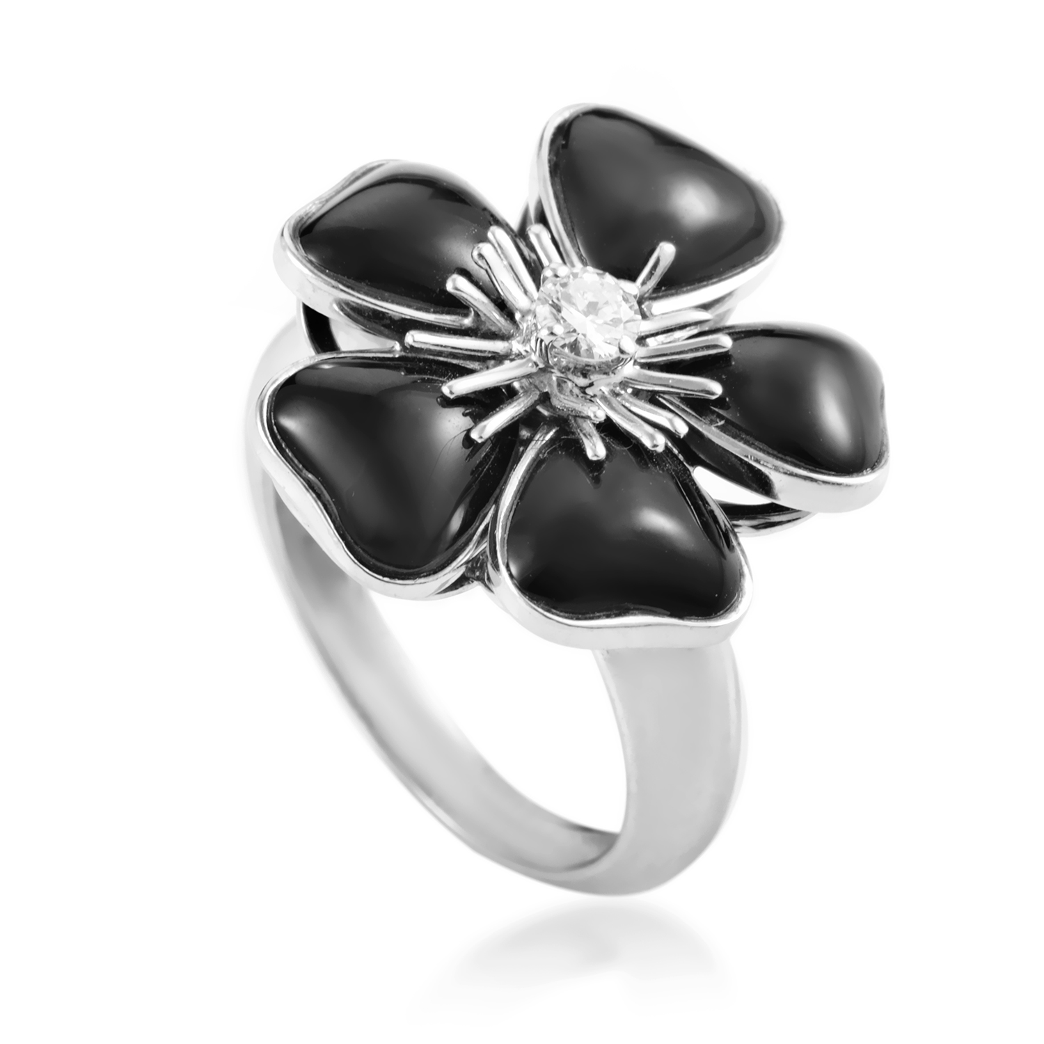 Van Cleef & Arpels Nerval 18K White Gold Onyx and Diamond Ring