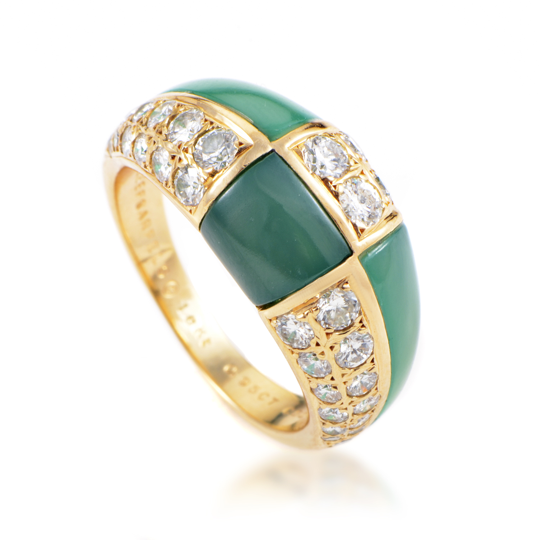 Van Cleef & Arpels Women's 18K Yellow Gold Tiled Diamond & Chrysoprase Ring