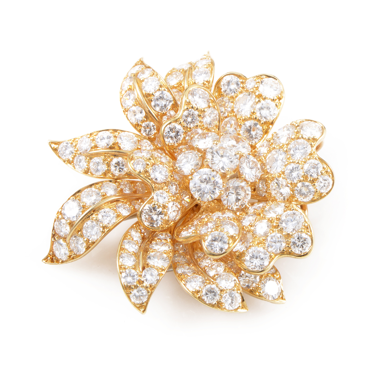 Van Cleef & Arpels Women's 18K Yellow Gold Diamond Flower Brooch
