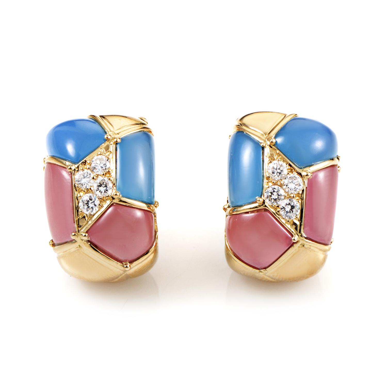 Van Cleef & Arpels 18K Yellow Gold Diamond & Multi-Jade Clip-on Earrings