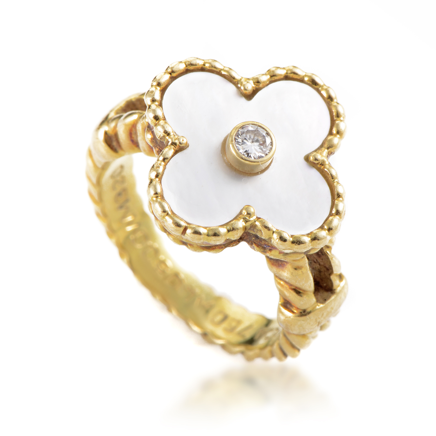 Van Cleef & Arpels Alhambra Yellow Gold Diamond & Mother Of Pearl Flower Ring