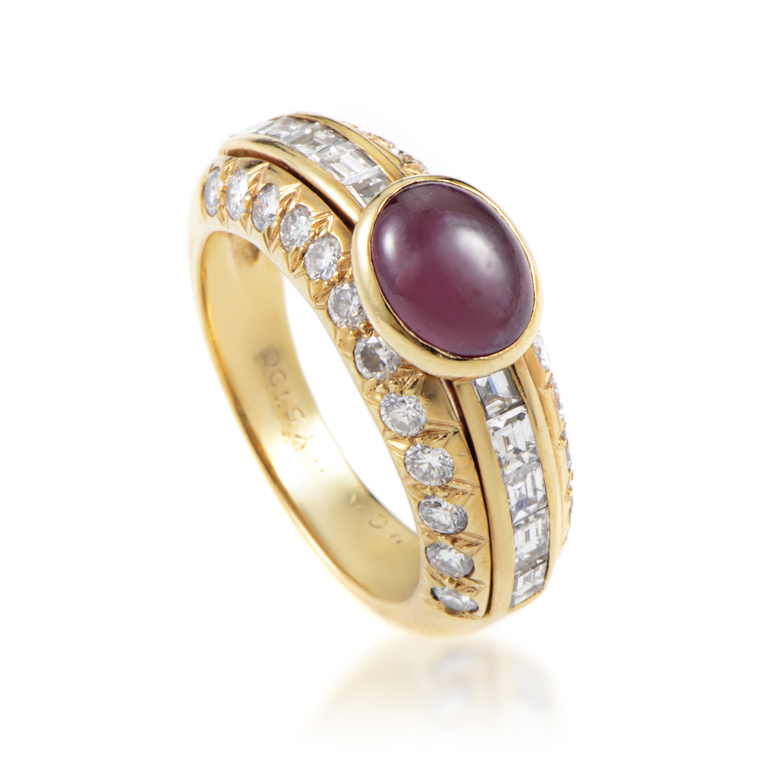 Van Cleef & Arpels Women's 18K Yellow Gold Diamond & Ruby Cabochon Ring