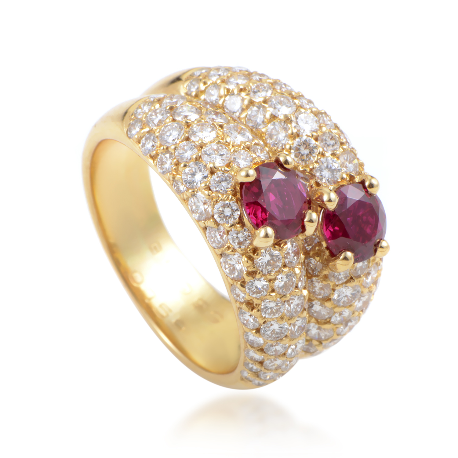 Van Cleef & Arpels Women's 18K Yellow Gold Diamond Pave & Ruby Double Band Ring