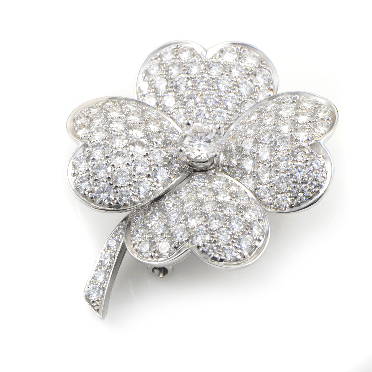 Van Cleef & Arpels Cosmos Large 18K White Gold Diamond Pave Brooch