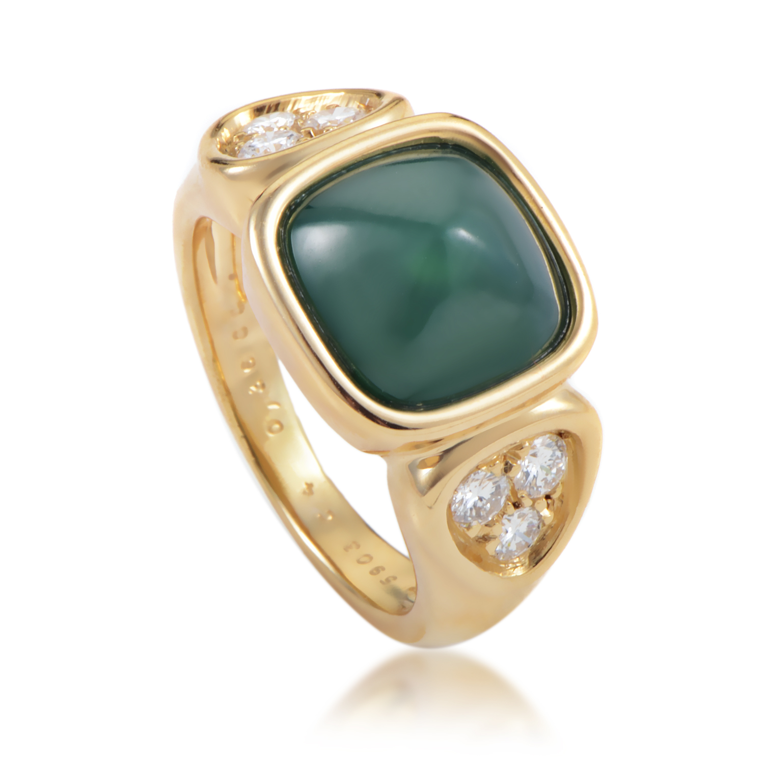 Van Cleef & Arples Women's 18K Yellow Gold Diamond & Chrysoprase Ring
