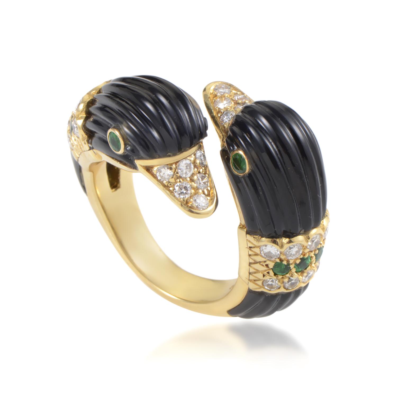 Van Cleef & Arpels 18K Yellow Gold Diamond & Gemstone Duck Heads Ring
