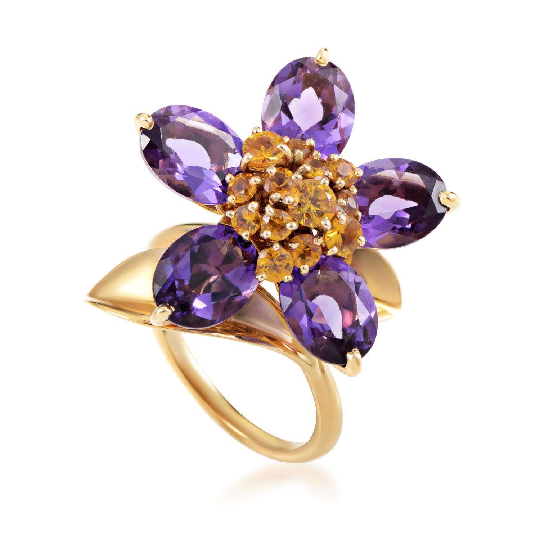 Hawaii Women's 18K Yellow Gold Amethyst & Citrine Flower Ring