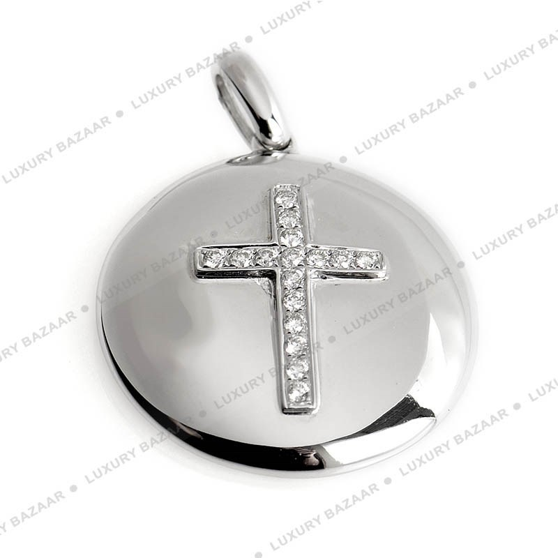 18K White Gold Cross Chainless Pendant