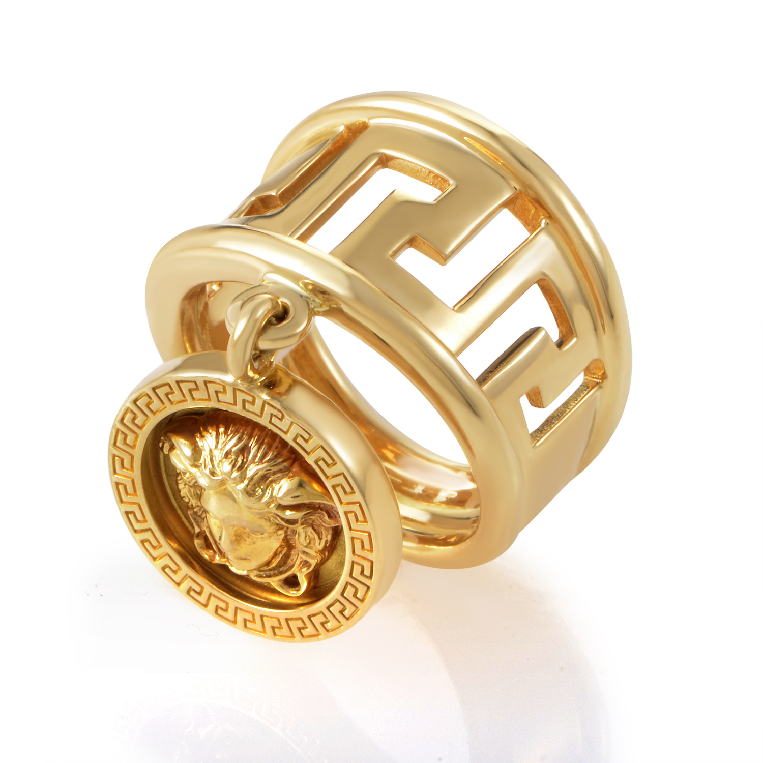 Versace 18K Yellow Gold Medusa Head Charm Ring