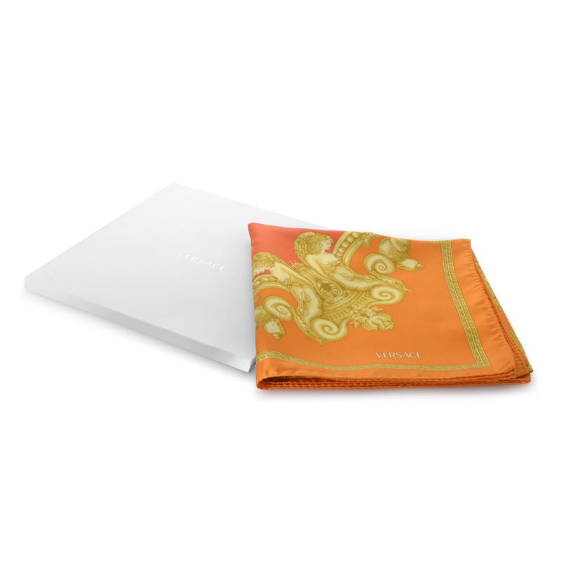 Orange & Gold Sea Square 100% Silk Scarf F005TWA58080013