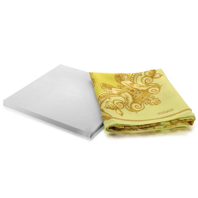 Yellow & Gold Sea Square 100% Silk Scarf F005TWA58080014