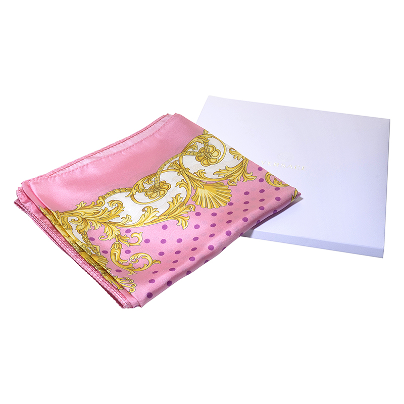 Pink & Gold Spotted Square 100% Silk Scarf F005TWB05270001