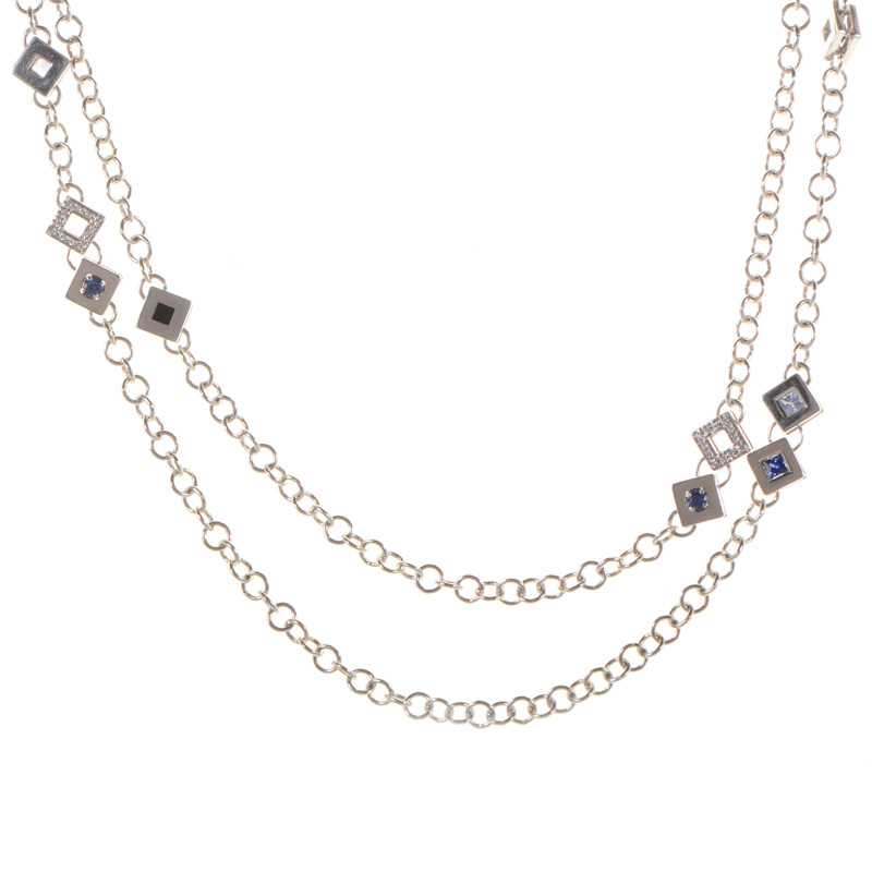 18K White Gold and Diamonds Multi Stone Necklace