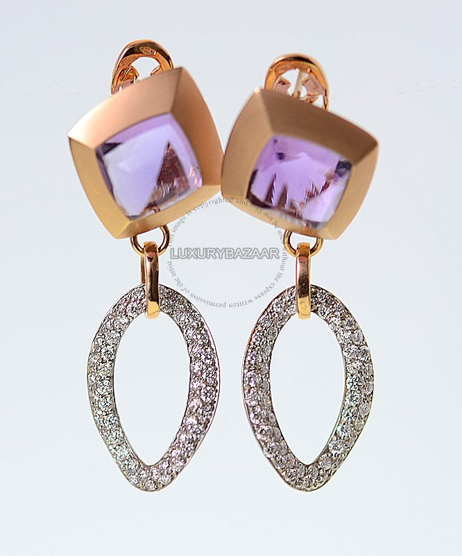 18K Rose Gold Diamond Amethyst Earrings