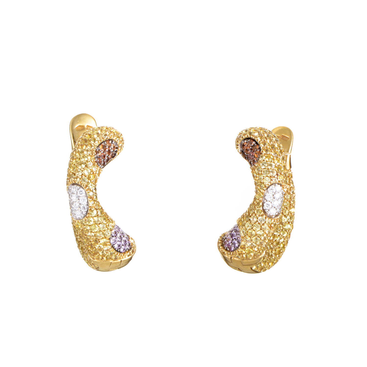 Women's 18K Yellow Gold Multi-Sapphire & Diamond Earrings 200-00024