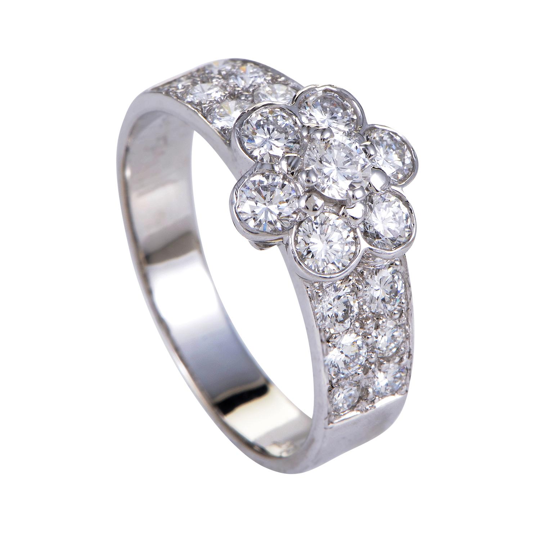 Van Cleef & Arpels Fleurette Womens 18K White Gold Diamond Ring